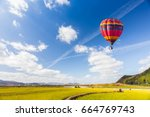 hot air color balloon over the... | Shutterstock . vector #664769743