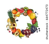 a circle of fruits. fresh food. ... | Shutterstock .eps vector #664772473