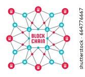 blockchain network computer... | Shutterstock .eps vector #664776667