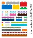toy building pieces in vector ... | Shutterstock .eps vector #664786837