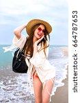 young woman having fun in... | Shutterstock . vector #664787653