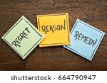 Small photo of Regret, reason, remedy word abstract - handwriting on sticky note against rustic wood - crisis management concept