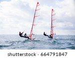 regatta of sailing yachts on... | Shutterstock . vector #664791847