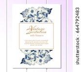 vintage delicate invitation... | Shutterstock .eps vector #664792483