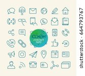 different trendy outline icons... | Shutterstock .eps vector #664793767