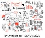 business doodles sketch set  ... | Shutterstock .eps vector #664796623