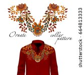 embroidery ethnic flowers neck ... | Shutterstock . vector #664813333