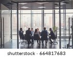 group of business people with... | Shutterstock . vector #664817683