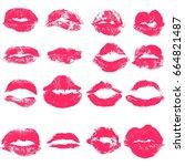 vector set of lips. imprint of... | Shutterstock .eps vector #664821487