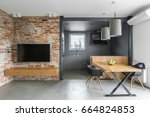 industrial style home interior... | Shutterstock . vector #664824853