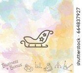 web line icon. santa's sleigh | Shutterstock .eps vector #664837927
