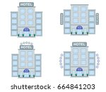 hotel building icons set flat... | Shutterstock .eps vector #664841203