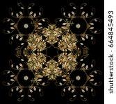 black simple christmas pattern  ... | Shutterstock .eps vector #664845493