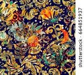 floral seamless pattern ... | Shutterstock . vector #664851937