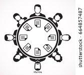 business meeting. team of...   Shutterstock .eps vector #664857487