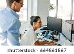 mature businesswoman working on ... | Shutterstock . vector #664861867