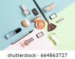creative flat lay of fashion... | Shutterstock . vector #664863727