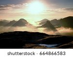 fantastic dreamy daybreak above ... | Shutterstock . vector #664866583