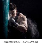 studio shot of male boxer... | Shutterstock . vector #664869643