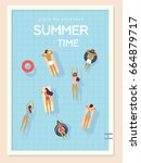 top view  summertime  holidays... | Shutterstock .eps vector #664879717