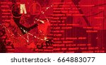 red artistic neo grunge style...   Shutterstock .eps vector #664883077