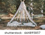 wedding tent in the style of... | Shutterstock . vector #664895857