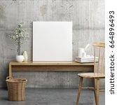 mock up poster in wooden... | Shutterstock . vector #664896493