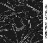 seamless background   knives.... | Shutterstock .eps vector #664903603