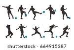 soccer silhouette set | Shutterstock .eps vector #664915387