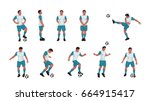 soccer player set colored | Shutterstock .eps vector #664915417