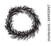 christmas wreath hand drawn fir ... | Shutterstock .eps vector #664920967