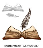 old book or notepad and ink...   Shutterstock .eps vector #664921987