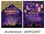 ramadan kareem greeting poster... | Shutterstock .eps vector #664922407
