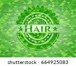 hair green emblem with mosaic... | Shutterstock .eps vector #664925083