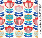 seamless vector pattern with... | Shutterstock .eps vector #664927933