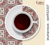 cup of coffee with colorful... | Shutterstock .eps vector #664932337