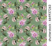 floral tile summer texture... | Shutterstock . vector #664937263