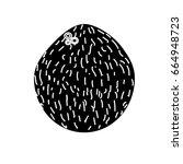 contour delicious coconut fruit ... | Shutterstock .eps vector #664948723
