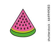 delicios slice watermelon fruit ... | Shutterstock .eps vector #664949083