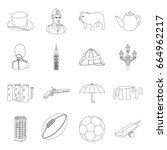 england country set icons in... | Shutterstock . vector #664962217