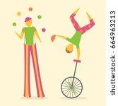 busker street performers... | Shutterstock .eps vector #664963213