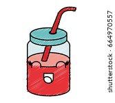 jar with juice fruit kawaii... | Shutterstock .eps vector #664970557