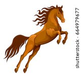 brown horse jumping on a white... | Shutterstock .eps vector #664979677
