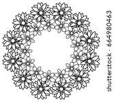 circular frame deoration floral | Shutterstock .eps vector #664980463
