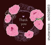 round floral frame  greeting... | Shutterstock .eps vector #665028853