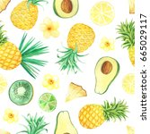 seamless pattern with isolated... | Shutterstock . vector #665029117