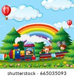 children riding on train in the ... | Shutterstock .eps vector #665035093