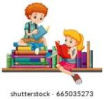boy and girl reading books... | Shutterstock .eps vector #665035273