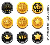 cartoon vip and crown coins in...