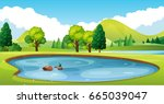 scene with pond in the field... | Shutterstock .eps vector #665039047